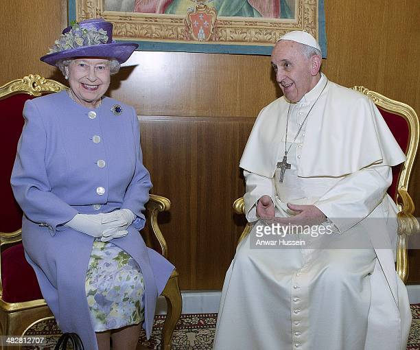 Queen Elizabeth ll meets Pope Francis at The Vatican on April 03 2014 in Vatican City Italy