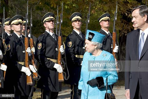 Queen Elizabeth ll meets President Danilo Turk at Brdo Castle on the first day of a State Visit to Slovenia on October 21 2008 in Ljubljana Slovenia