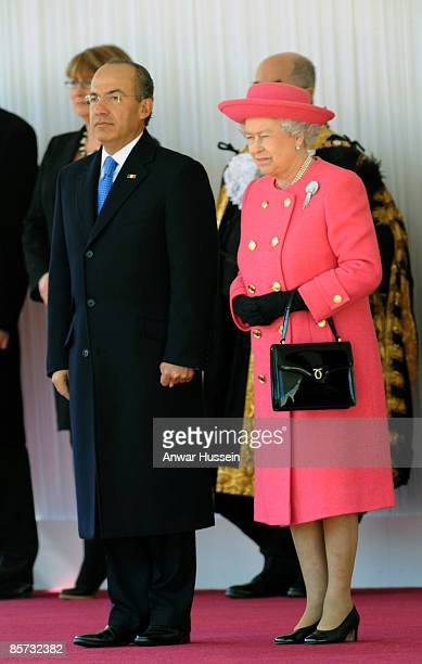 Queen Elizabeth ll meets President Felipe Calderon of Mexico during an official ceremonial welcome at Horse Guards Parade on March 30 2009 in London...