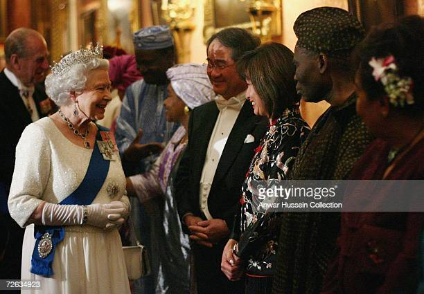 Queen Elizabeth ll meets the Korean ambassador as she hosts a reception at Buckingham Palace for members of the diplomatic corps on November 21 2006...