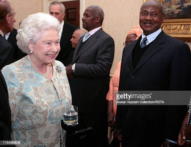 Queen Elizabeth ll meets the President of Uganda Yoweri Kaguta Museveni at a Commonwealth Day reception at Marlborough House on March 10 2008 in...