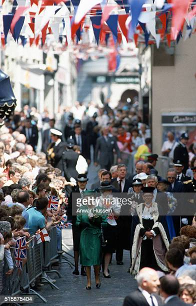 Queen Elizabeth ll meets the public during a walkabout as she visits the the Channel Islands on May 25 1989 in Guernsey Channel Islands