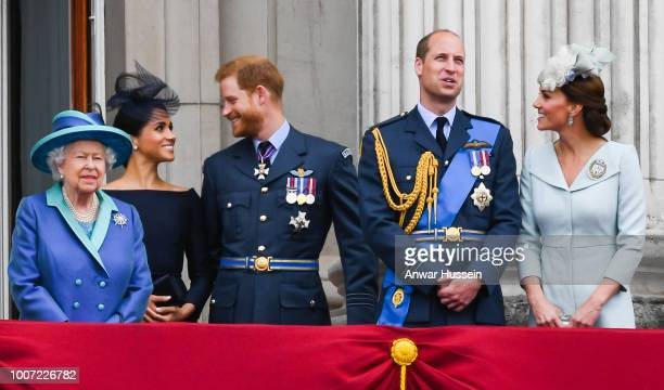 Queen Elizabeth ll, Meghan, Duchess of Sussex, Prince Harry, Duke of Sussex, Prince William, Duke of Cambridge and Catherine, Duchess of Cambridge...