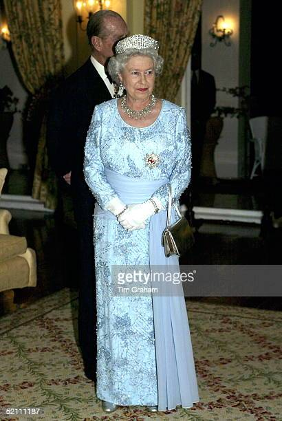 Queen Elizabeth Ll On The Second Day Of Her Official Tour Of Jamaica The Queen Is Attending A Dinner At The Governor General's Residence Kings House...