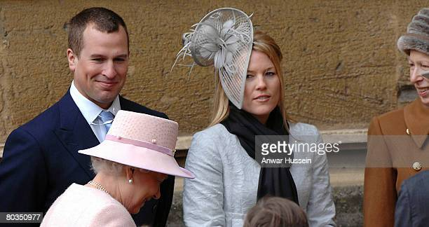 Queen Elizabeth ll Peter Phillips fiancee Autumn Kelly and Princess Anne leave St George's Chapel in Windsor Castle following the Easter Day Service...
