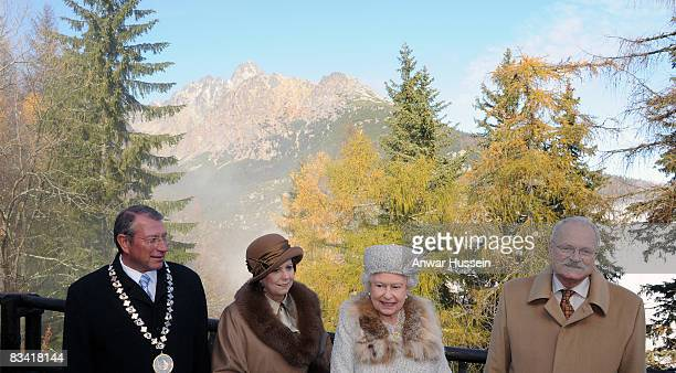Queen Elizabeth ll President Ivan Gasparovic and wife Silvia tour Hrebienok Ski Resort on the second day of a tour of Slovakia on October 24 2008 in...
