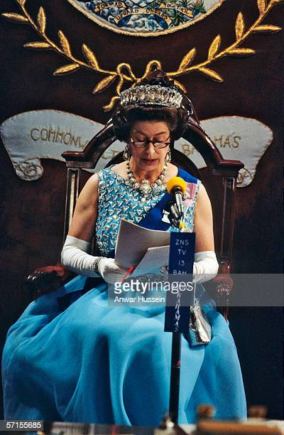 Queen Elizabeth ll presides over the State Opening of Parliament during her visit to the Bahamas in her Silver Jubilee year in October of 1977