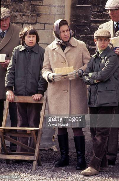 Queen Elizabeth ll Prince Edward and Lady Sarah ArmstrongJones attend the horse inspection together at Badminton Horse Trials on April 01 1977 in...