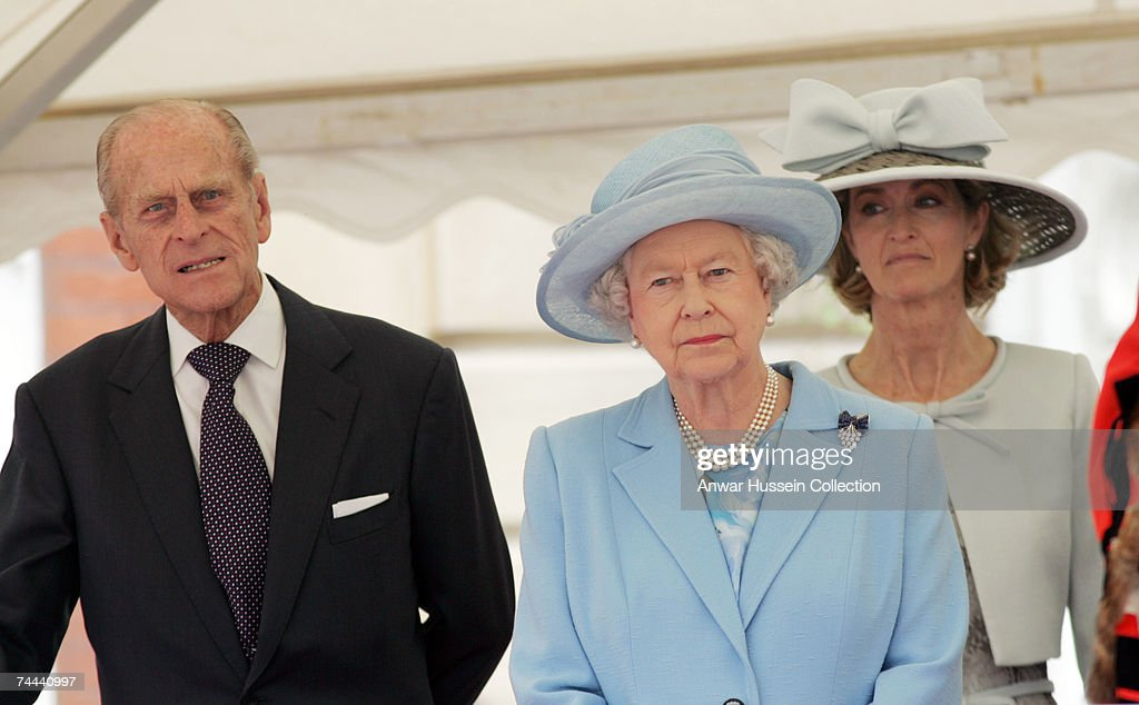 Queen Elizabeth ll, Prince Philip, Duke of Edinburgh and Lady Braybourne (formerly Lady Romsey) attend a service in Romsey Abbey to commemorate the 400th anniversary of the granting of the Royal Charter on June 8, 2007 in Romsey, England.