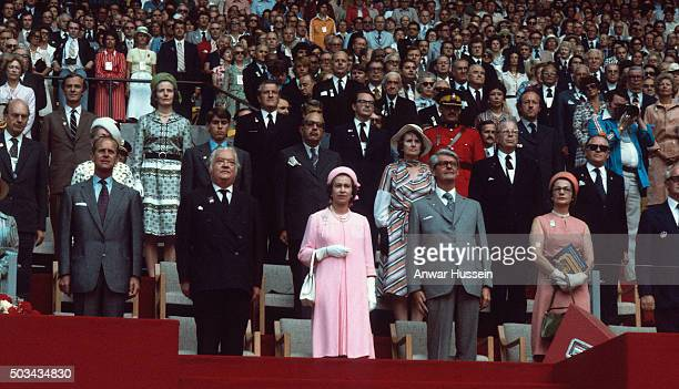 Queen Elizabeth ll Prince Philip Duke of Edinburgh and Prince Andrew attend the opening ceremony of the 1976 Montreal Summer Olympics on July 17 1976...