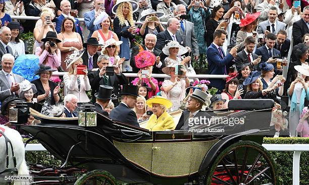 Queen Elizabeth ll Prince Philip Duke of Edinburgh and Prince Andrew Duke of York arrive in an open carriage to attend Day 1 of Royal Ascot on June...