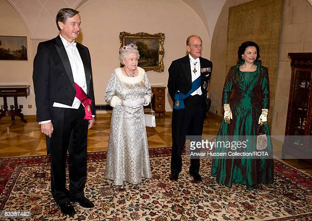 Queen Elizabeth ll Prince Philip Duke of Edinburgh President Danilo Turk and Barbara Miklic Turk attend a State Banquet at Brdo Castle on the first...