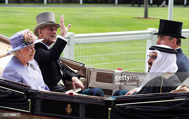 Queen Elizabeth ll Prince Philip Duke of Edinburgh Prince Andrew Duke of York and the Crown Prince of Bahrain arrive in an open carriage on Ladies...