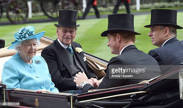Queen Elizabeth ll Prince Philip Duke of Edinburgh Prince Harry and Prince Andrew Duke of York arrive in an open carriage to attend Ladies Day at...