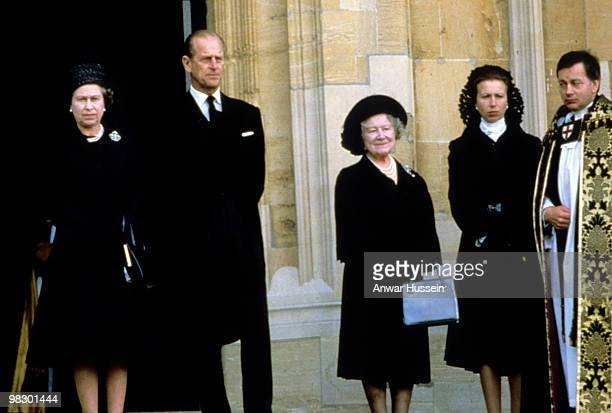 Queen Elizabeth ll, Prince Philip, Duke of Edinburgh, The Queen Mother and Princess Anne, Princess Royal attend the funeral of the Duchess of Windsor...