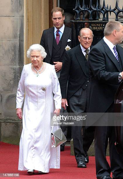 Queen Elizabeth ll, Prince William, Duke of Cambridge and Prince Philip, Duke of Edinburgh leave following the Thistle Service for the installation...