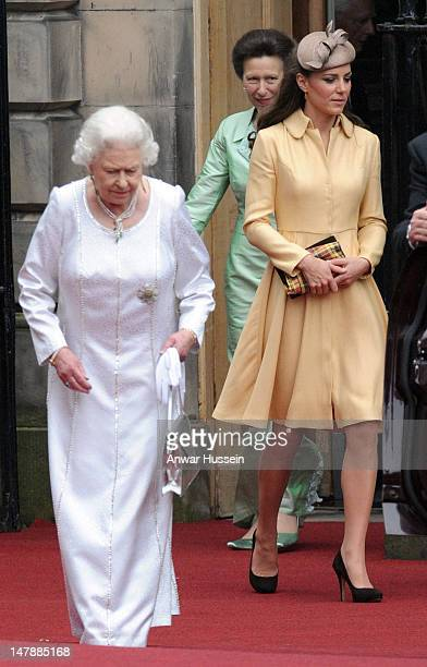 Queen Elizabeth ll, Princess Anne, Princess Royal and Catherine, Duchess of Cambridge leave following the Thistle Service for the installation of...