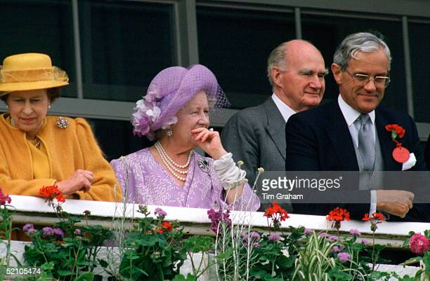 Queen Elizabeth Ll, Queen Mother, Sir Martin Gilliat And Michael Shea, The Queen's Press Secretary, Watching The Racing On Derby Day.