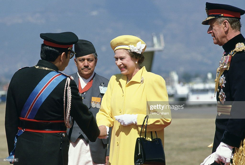 Queen And Philip And King Of Nepal : News Photo