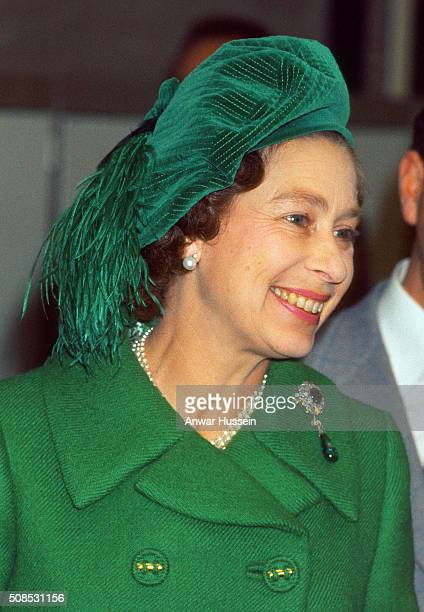 Queen Elizabeth ll smiles as she visits Scotland during her Silver Jubilee tour of the United Kingdrom in May 1977 in Scotland.