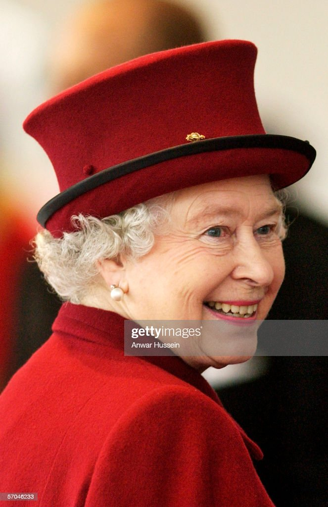 Queen Elizabeth ll smiles during a ceremonial welcome at Horse Guards Parade for Chinese President Hu Jintao and his wife Liu Yonquing on the first day of their 3 day State Visit to London on November 8, 2005 in London, England.