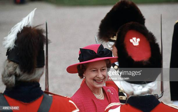 Queen Elizabeth ll smiles during a visit to the Royal Welch Fusiliers at Powis Castle on her birthday April 21, 1989 in Powis, Wales.