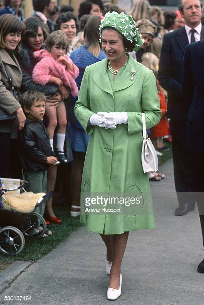 Queen Elizabeth ll smiles during a walkabout in New Zealand during her Silver Jubilee year on March 01 1977 in Wellington New Zealand