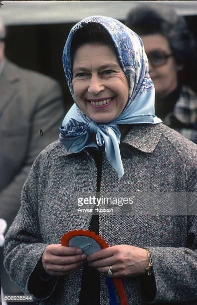 Queen Elizabeth ll smiles during the Badminton Horse Trials on April 16 1977 in Badminton England