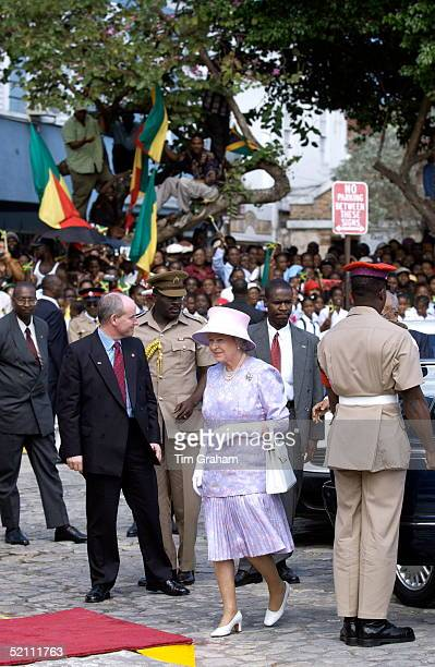 Queen Elizabeth Ll Smiling Whilst Arriving In Sam Sharpe Square Where She Is Attending A Civic Reception A Large Crowd Has Gathered To Greet Her The...