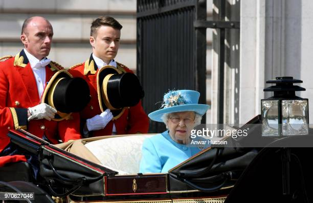 Queen Elizabeth ll travels in an open carriage to the Trooping the Colour ceremony on June 09 2018 in London England