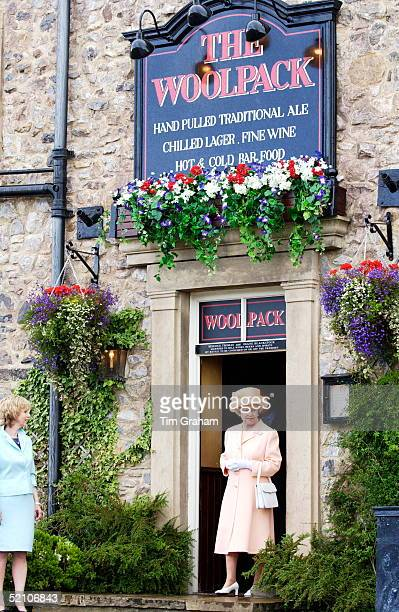 Queen Elizabeth Ll Visiting The Set Of 'emmerdale' A Well Known British Soap Opera Produced By Yorkshire Television Limited As Part Of Her Nationwide...