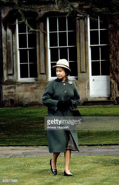 Queen Elizabeth ll walks to Church at Badminton Gloustershire England in April of 1973