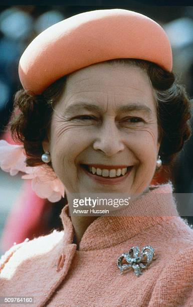 Queen Elizabeth ll wearing a bow brooch smiles circa January 01 1979 in England