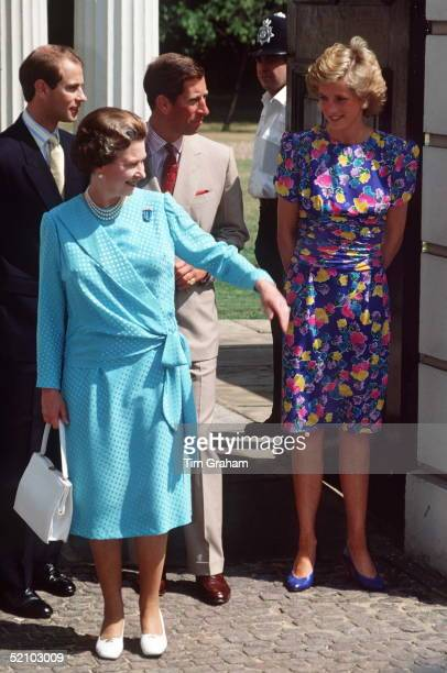 Queen Elizabeth Ll With Her Sons Prince Edward And Prince Charles And Princess Diana Outside Clarence House In London