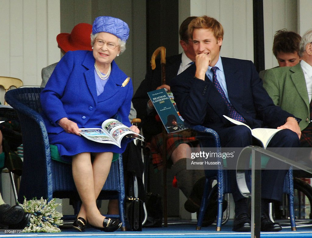 Queen Elizabeth ll with Prince William attends the Braemar Royal Highland Gathering on September 3, 2005 in Braemar, Scotland. It is the first time that Prince William has attended.