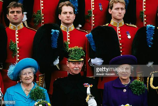 Queen Elizabeth ll with the Grand Duke Jean of Luxembourg and the Queen Mother with the Irish Guards at Chelsea on St Patrick's Day in March of 1995...