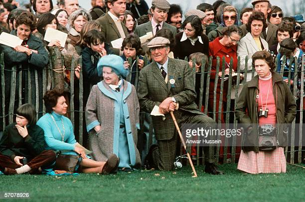 Queen Elizabeth ll with the Queen Mother, Princess Margaret, Lady Sarah Armstrong Jones and the Duke of Beaufort at the Badminton Horse Trials on...