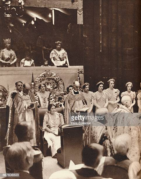 'Queen Elizabeth looks on as her husband is crowned on the day of his coronation at Westminster Abbey', 1937. From The Coronation of King George VI...
