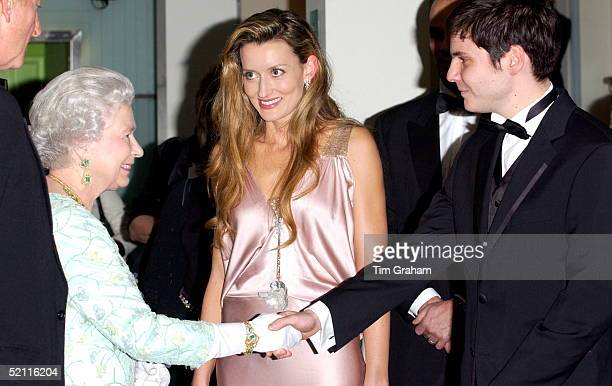 Queen Elizabeth Meeting Actor Daniel Bruhl Before The Royal Film Performance Of 'ladies In Lavender' At The Odeon Cinema In Leicester Square. He...
