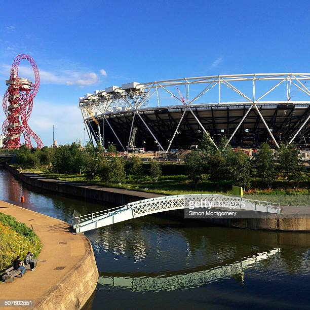 CONTENT] Queen Elizabeth Olympic Park 2012 with Aquatics Centre the Orbit and the River Lea Stratford London UK