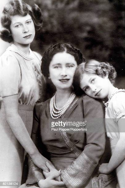 1940 Queen Elizabeth pictured with her two daughters Princess Margaret and Princess Elizabeth who later became Queen Elizabeth II