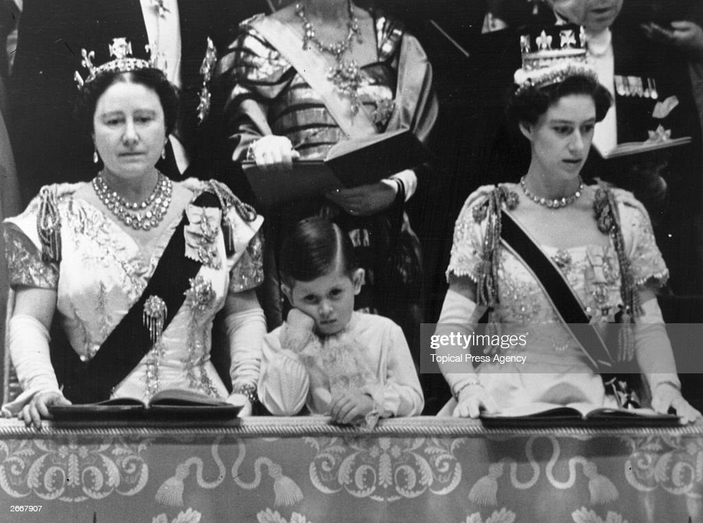 Queen Elizabeth Queen Mother and Prince Charles with Princess Margaret Rose (1930 - 2002) in the royal box at Westminster Abbey watching the Coronation ceremony of Queen Elizabeth II.