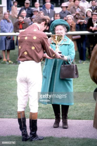 HRH Queen Elizabeth Queen Mother March 1981 presents the Grand Military Gold Cup to B MunroWilson at Sandown Park