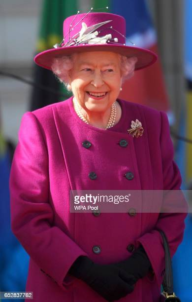 Queen Elizabeth smiles during the launch of The Queen's Baton Relay for the XXI Commonwealth Games being held on the Gold Coast in 2018 at Buckingham...