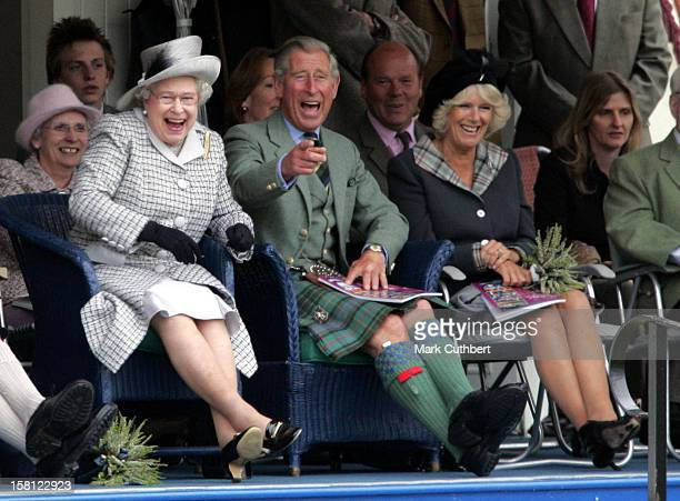 Queen Elizabeth The Prince Of Wales The Duchess Of Cornwall Attend The 2006 Braemar Gathering Scotland