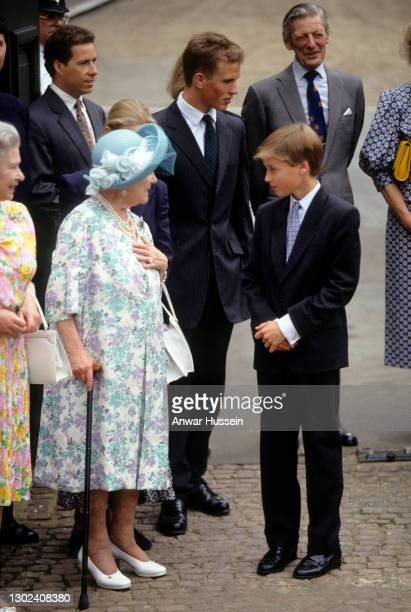 Queen Elizabeth the Queen Mother, accompanied by Peter Phillips and Prince William, greets the public outside Clarence House on her 94th birthday on...