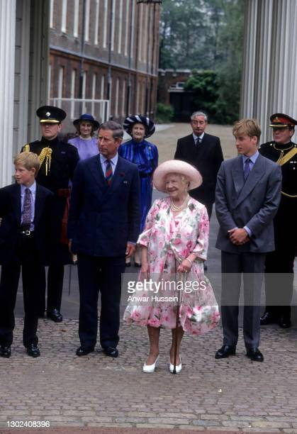 Queen Elizabeth the Queen Mother, accompanied by Prince Harry, Prince Charles,Prince of Wales and Prince William greets the public outside Clarence...