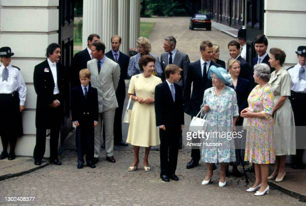 Queen Elizabeth the Queen Mother, accompanied by Prince William, Princess Margaret and other members of the Royal Family, greets the public outside...