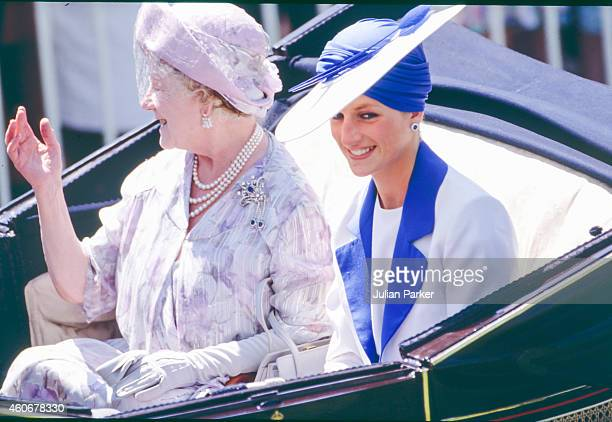 Queen Elizabeth, The Queen Mother, and Diana, Princess of Wales in the carriage procession at The Royal Ascot race meeting, on June 20, 1989 in Ascot...