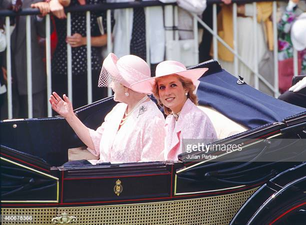 Queen Elizabeth The Queen Mother and Diana Princess of Wales in the carriage procession at The Royal Ascot race meeting on June 22 1989 in Ascot...